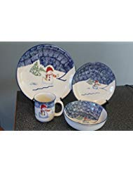 16 Piece (4 place setting) Thomson Pottery Snowman Dinnerware-Dinner Plate,Salad Plate, Cereal/Soup Bowl, Mug MINT Condition -