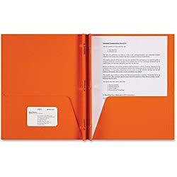 (Sparco 3-Prong Leatherette Portfolios, 2 Pockets, Letter Size, Orange, Box of 25 Portfolios)