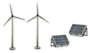 Scene-A-Rama Scene Setters Alternative Energy Set Wind Turbines & Solar Panels (2 ea)