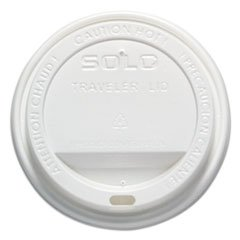 -- Traveler Drink-Thru Lid, 12-16oz Hot Cups, White, 50/Pack, 6 Packs/Carton