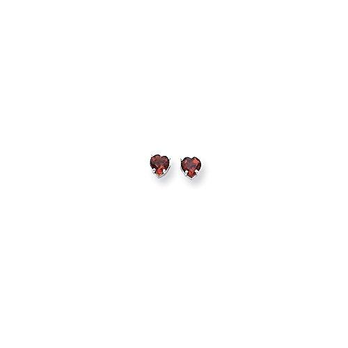 14k White Gold Polished Post Earrings 5mm Heart Garnet Earrings