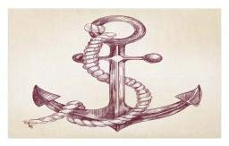 Ambesonne Anchor Doormat, Realistic Hand Drawn Sketch Marine Vintage Design Sails Yacht Boat Cruise, Decorative Polyester Floor Mat with Non-Skid Backing, 30 W X 18 L Inches, Dark Mauve -