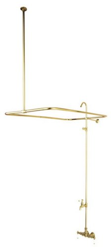 Kingston Brass CC65T2 Vintage Leg Tub Filler and Shower, Polished Brass Leg Tub Shower Enclosure