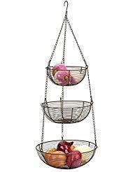 (Rsvp Bronze 3 Tier Hanging Woven Wire Metal Basket Fruit Vegetable)