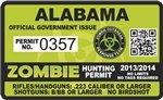 """Alabama AL Zombie Hunting Permit Decal 4"""" x 2.4"""" Outbreak Sticker"""