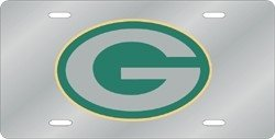 Green Bay Packers Laser Cut Silver License Plate -