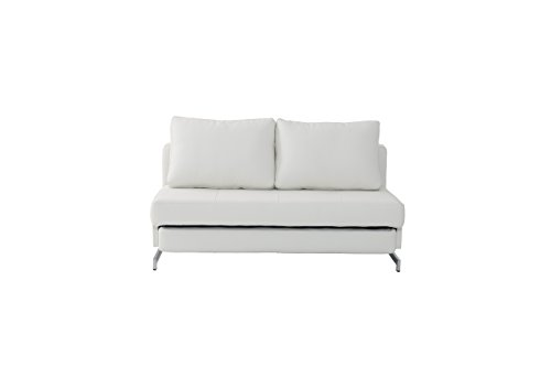 J and M Furniture Premium Sofa Bed K43-2 in White Leatherette