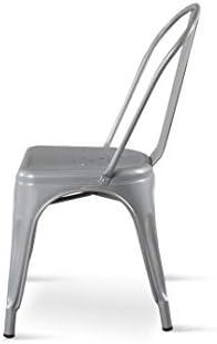 Kosmi - Chaise Grise en métal Style Industriel Factory en métal Coloris Gris