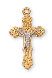 , GOLD OVER STERLING SILVER TUTONE CRUCIFIX. INCLUDES 16