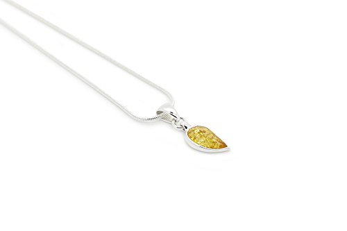 925 Sterling Silver Leaf Pendant Necklace with Genuine Natural Baltic Honey Amber. Chain Included
