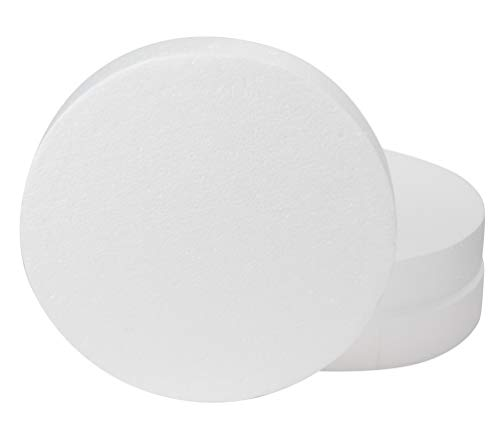 Craft Foam Circle - 3-Pack Polystyrene Foam Disc, Round Craft Foam for Cake Dummy, Sculpture, Modeling, DIY Arts, Kids Class, Floral Arrangement, White, 12 x 12 x 2 Inches]()