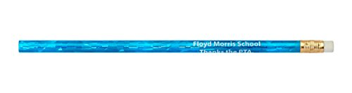 Pencil Guy Promotional Personalized Imprinted Glitz Round Pencils Glitz Blue 144 to a -