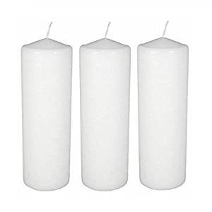 Dlight Online 3 X 8 Pillar Candles Bulk Event Pack Round Unscented White Pillar Candles - Set of 12 (3 X 8, White)