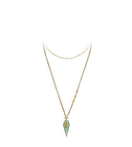 NORTHSTAR PEARLS AND JEWELRY: Geometric Pendant Layered Necklace for Adults. Matte Gold-tone Cute Chain Necklace with dark Pastel Colors. ()