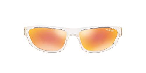 - Arnette  Lost Boy, Post Malone Exclusive Collection, Unisex Rectangular Sunglasses Transparent Frame/ Mirrored Orange Lens 56 MM