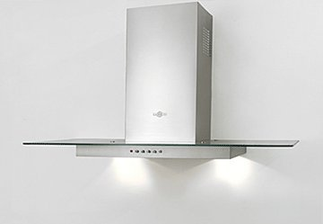 "Range Hood Stainless Steel Glass 28"" KA-107 NT AIR. Made in Italy."