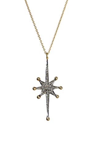 (Genuine Diamond Star Necklace- 14k gold and Sterling Silver- Celestial Jewelry- 18