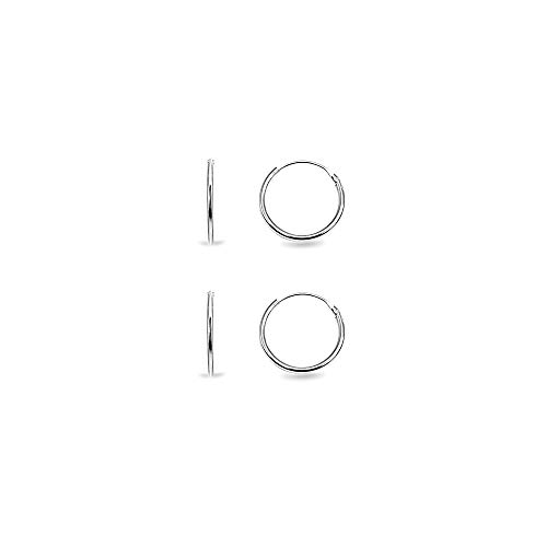 Set of 2 Sterling Silver Small Endless 10mm Lightweight Thin Round Unisex Hoop Earrings (Child Hoop Earrings)