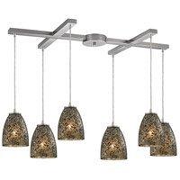Pendants 6 Light With Satin Nickel Finish Smoke Glass Medium Base 33 inch 360 Watts - World of - Covina W