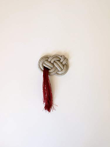(Red Tassel and Concrete Josephine Knot Brooch - Celtic Handmade Sweater pin for Fall and Winter Shawl Jewelry Gift for Women )