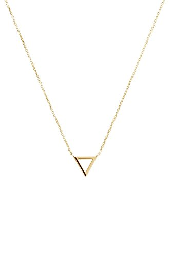 Gold Triangle Pendant, 9K, 14K, 18K Gold Necklace, Yellow Gold Triangle, Geometric Necklace /code: 0.002