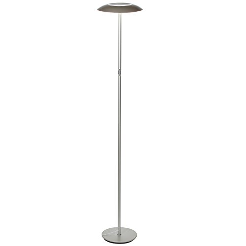 Brightech SKY LED Downlight Floor Lamp– Energy Saving, Dimmable Reading & Hobby Lamp– Industrial Modern Tall Standing Pole Light for Living Room, Dorm, Bedroom, Den, and Office – Platinum Silver