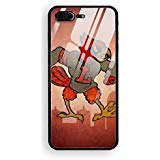 Louisville Cardinals Tempered Glass Compatible for iPhone 8 Plus Case Tempered Glass Back Cover with Soft TPU Bumper Frame Shock Absorption 360 Degree Full Protection