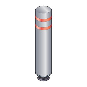 48 in. Gray Gorilla Post Magnetic Bollard with 2 Red Reflective Stripes, Add On Kit