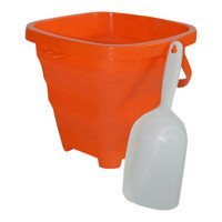 AquaVault Packable Pails. Collapsible Bucket with Shovel- Perfect for Travel in Starfish Orange by Packable Pails