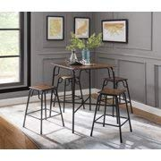 MMOYT Acme Hachi 5 Piece Counter Height Dining Set, Walnut and Black Frame for an Industrial Style