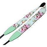 Emmix Camera Strap of Neck and Shoulder Belt Strap for DSLR / SLR Flower Printing Spring New -Mint Green