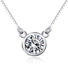 jacob alex #40604 Solitaire 3.0CT AAA Zirconia Pendant Chain Necklace Choker 925 Sterling Silver by jacob alex