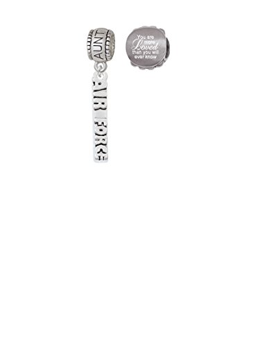 Air Force Aunt Charm Bead with You Are More Loved Bead (Set of 2)