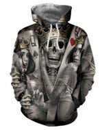 Leon's shop 3D Hoodie Digital Printing Crown Skull Baseball Uniform Lovers, XXXL -