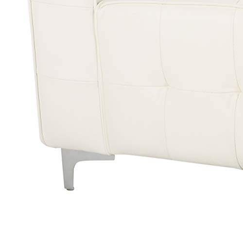 Laura Modern Glam Leather Cube Club Chair, White and Chrome - 7