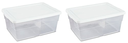 - Sterilite 16 Quart Basic Clear Storage Box with White Lid (Pack of 2)