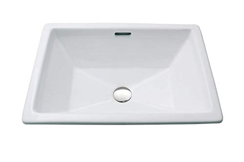 Top Mount Bathroom Sink - Enbol O2014A White Rectangle Above Counter Self Rimming Porcelain Lavatory Bathroom Drop-in Vanity Sink With Square Corners And Bottom Waterflowing Line