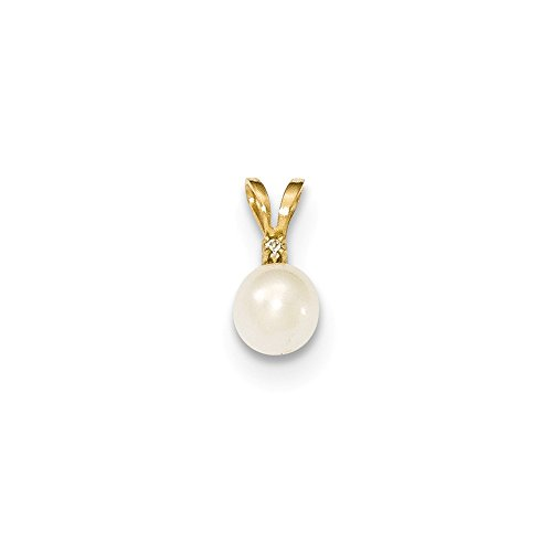 14k Yellow Gold 6mm Round White Freshwater Cultured Pearl Diamond Pendant Charm Necklace Fine Jewelry Gifts For Women For Her
