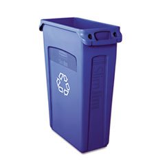 * Slim Jim Recycling Container w/Venting Channels, Plastic, 23 gal, Blue