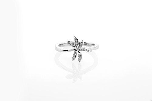 London Fine Jewelry Diamond Palm Tree Ring in 14K White (Diamond Palm Tree Ring)