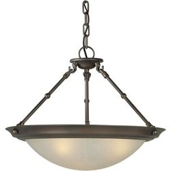 3 Light Convertible Inverted Pendant Finish / Shade: Antique Bronze / Umber Linen (3 Light Inverted Bowl Pendant)