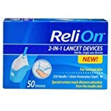 ReliOn - Needle & Lancets for Thin and Delicate Skin - 25 Gauge Needle - Sterile, Single-use Lancet. 1.8mm Penetration Depth. Includes 50 Lancets (Lancing Reli On Device)