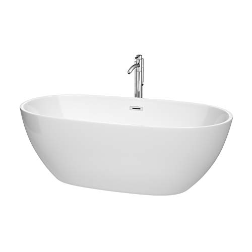 Wyndham Collection WCBTK156167ATP11PC Juno Freestanding Bathtub with Floor Mounted Faucet in Polished Chrome 67