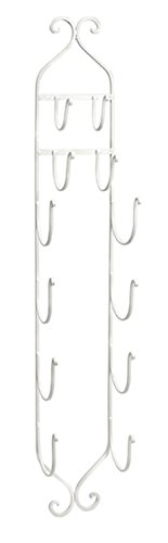 White Wrought Iron Towel Rack - IMAX 97480 Towel - Wine Rack in White - Compact, Wall Mounted Clever Cast Iron Display Rack for Organizing Towels, Wine Bottles or Hanging Hats. Classic Furniture Accessories