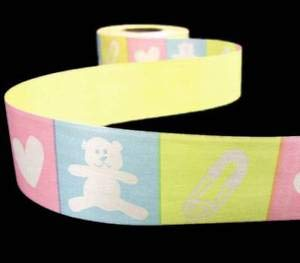 10 Yards Baby Girl Boy Blocked Teddy Bears Hearts Pastel Acetate Ribbon 1 Florist, Flowers, Arts & Crafts Gift Wrapping