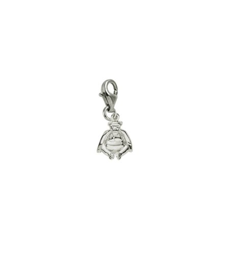14k Gold Monkey Charm - 14k White Gold Monkey Charm With Lobster Claw Clasp, Charms for Bracelets and Necklaces
