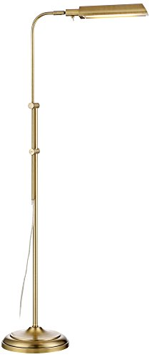 Culver Plated Aged Brass Adjustable LED Floor Lamp (Brass Plated Wide)