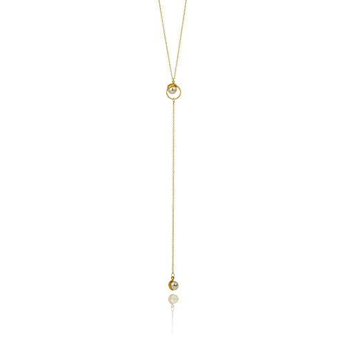 SAND Collection Lariat Necklace Handcrafted in Iceland from Swarovski Crystal Pearl and Sustainably Sourced 925 Sterling Silver (18K Gold -