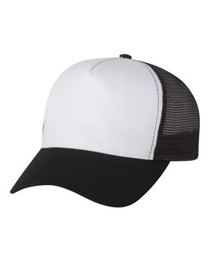 Mega Cap - Five Panel PET Mesh Back Trucker - 6886-White/Black