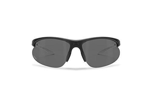 Bertoni Photochromic Polarized Sunglasses for Cycling Running Golf Ski - P301BFT Italy Bike Wraparound Windproof Sunglasses - Mat Black/Rubber White - Photochromic Polarized